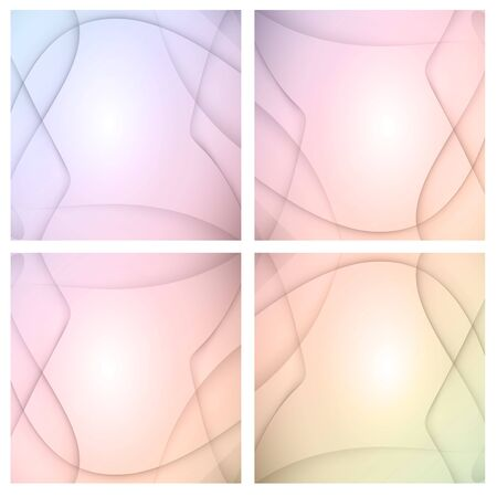 Set of four beautiful colourful wavy backgrounds Illustration