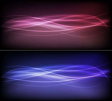 Two futuristic banners with flowing lines