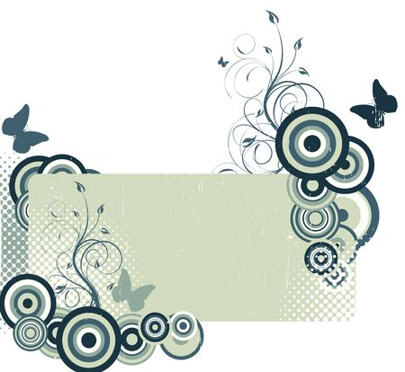 Grunge background with butterflies Vector
