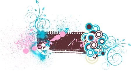 Grungy floral background with splashes