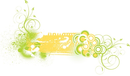 Grungy floral background with splashes Stock Vector - 12195505
