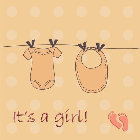 little girl feet: Cute baby girl background Illustration