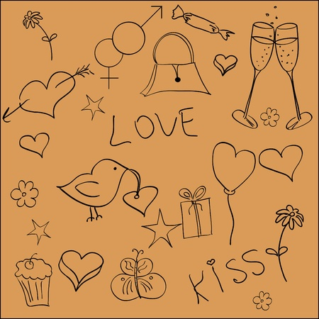 A set of handdrawn St.Valentine elements Vector