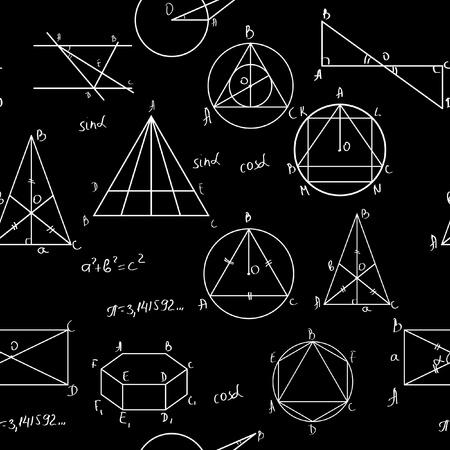 simbolos matematicos: Matemáticas sin fisuras patrón. Azulejos para el fondo sin fin