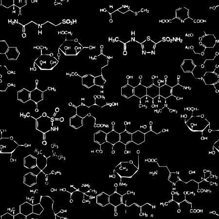 Chemische nahtlose Muster. Fliesen für endlosen Hintergrund Vektorgrafik