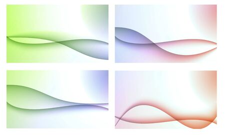 Set of four beautiful colourful wavy backgrounds Stock Photo