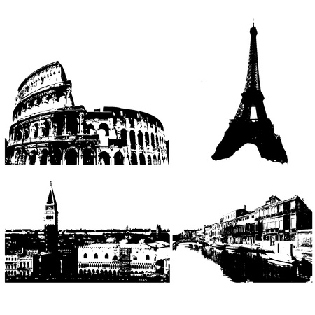 Set of four city backgrounds: Rome, Paris and Venice Vector