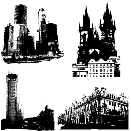 Set of four city backgrounds: Moscow and Prague Illustration