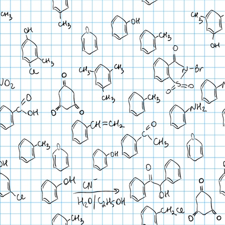 benzene: Chemical seamless pattern. Tile for endless background Illustration