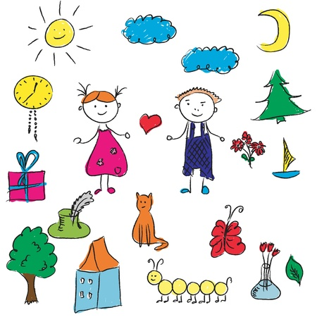 Kids drawing - various cute elements