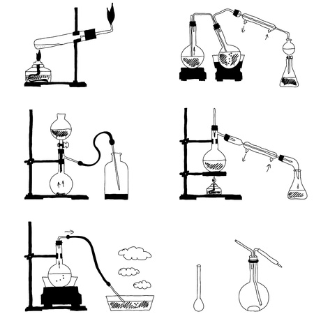 laboratory glass: Various hand drawn schemes of chemical processes