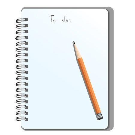 Office tools - blank notepad with a pencil Illustration