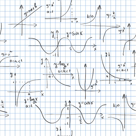 simbolos matematicos: Patrón sin fisuras con los gráficos. Azulejos para el fondo sin fin
