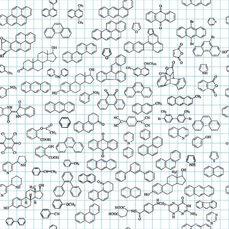 Fond chimique transparente avec des formules