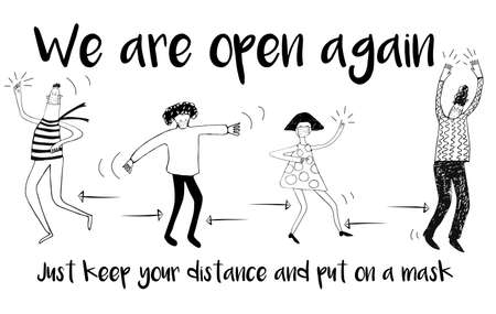 Black and white illustration with stylized dancing people and hand-written inscriptions