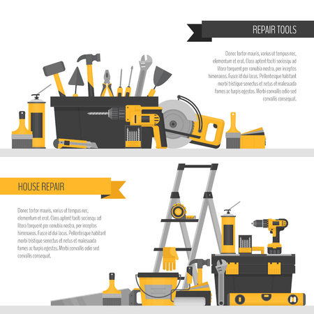 Home repair banner. ?onstruction tools. Hand tools for home renovation and construction. Flat style, vector illustration.