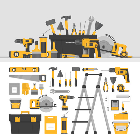Home repair objects and banner. ?onstruction tools. Hand tools for home renovation and construction. Flat style, vector illustration.
