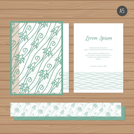 Wedding invitation or greeting card with floral ornament. Paper lace envelope template. Wedding invitation envelope mock-up for laser cutting. Tiffany blue color. Vector illustration.