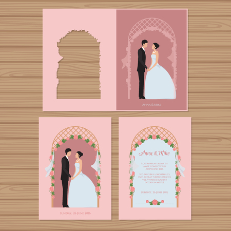 Wedding invitation with bride and groom on the background of a wedding arch. Vector illustration. Stock Illustratie