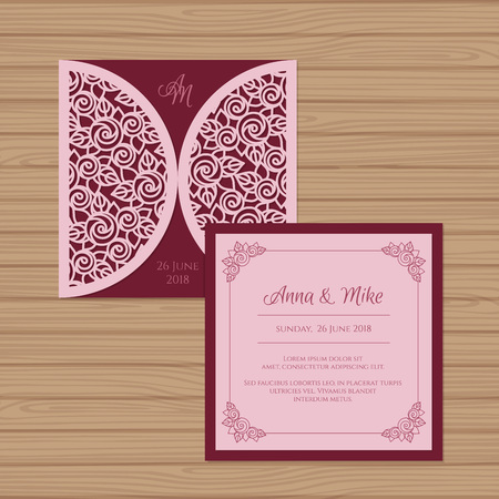 Wedding invitation or greeting card with flower ornament. Cut laser square envelope template. Wedding invitation envelope for laser cutting. Vector illustration. Stok Fotoğraf - 87288069