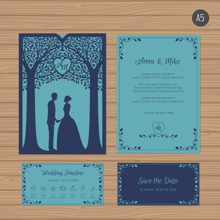 Wedding invitation with bride and groom, and tree. Paper lace envelope template. Wedding invitation envelope mock-up for laser cutting. Vector illustration. Imagens - 87288074