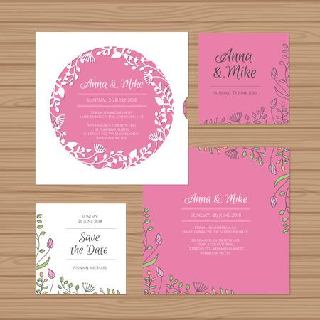 Wedding invitation or greeting card with flower wreath. Cut laser square envelope template. Wedding invitation envelope for laser cutting. Vector illustration. Ilustração