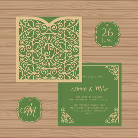 Wedding invitation or greeting card with vintage ornament. Paper lace square envelope template. Wedding invitation envelope mock-up for laser cutting. Vector illustration.