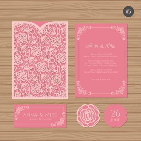 Wedding invitation or greeting card with tree paper lace envelope wedding invitation or greeting card with floral ornament paper lace envelope template wedding invitation m4hsunfo