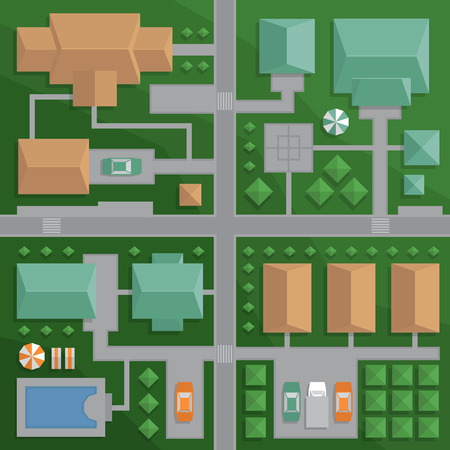 Top view map of the city with streets and houses. View from above. Colorful vector illustration, flat style.
