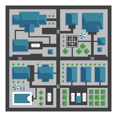 park: Top view map of the city with streets and houses. View from above. Vector illustration, flat style.