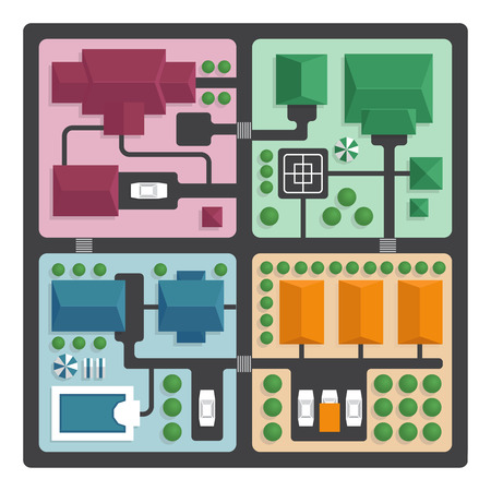 park: Top view map of the city with streets and houses. View from above. Colorful vector illustration, flat style.