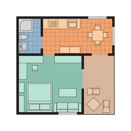 planning: Vector flat projection apartment. Small house plan with furniture. Colorful illustration. Illustration