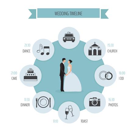 結婚式の日のラウンドのタイムライン  イラスト・ベクター素材