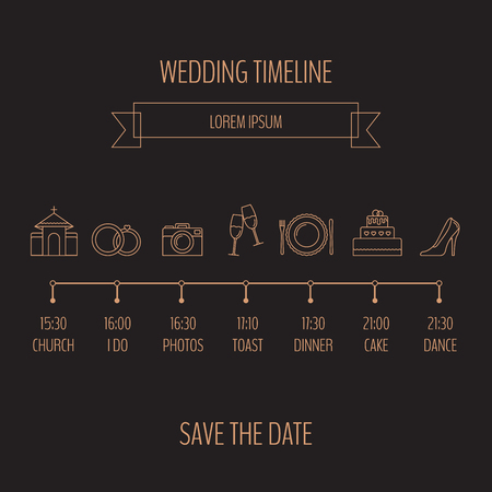 Wedding timeline infographic on a plain background.