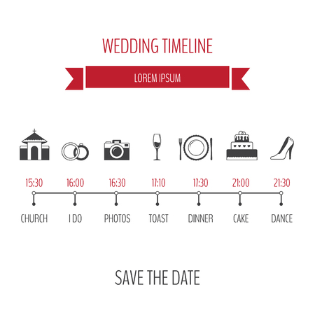 event planner: Wedding timeline infographic.