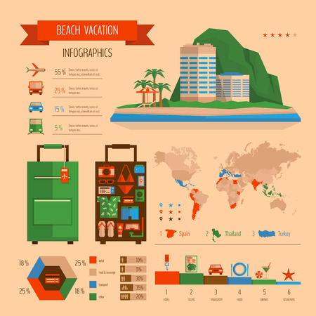 planning: Beach vacation infographics. Summer travel and tourism planning.