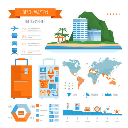 Beach vacation infographics. Summer travel and tourism planning. Flat style, vector illustration. Illustration