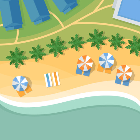 Top view of a tropical beach. Palm trees, umbrellas and lounge chairs on the beachfront. Summer holiday. Vector Illustration, flat design style. Illustration