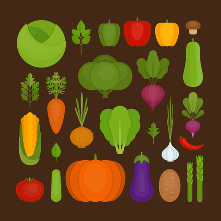Vegetables icon set. Organic and healthy food. Flat style, vector illustration. Illustration