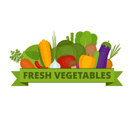 Vegetables collection. Organic and healthy food. Flat style, vector illustration. Illustration