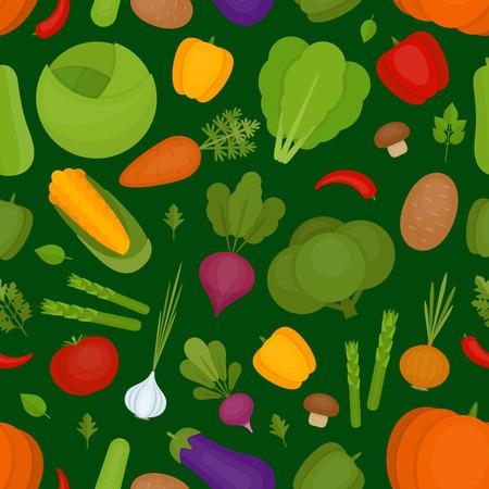 Vegetables background. Fresh vegetables pattern. Organic and healthy food. Flat style, vector illustration. Illustration