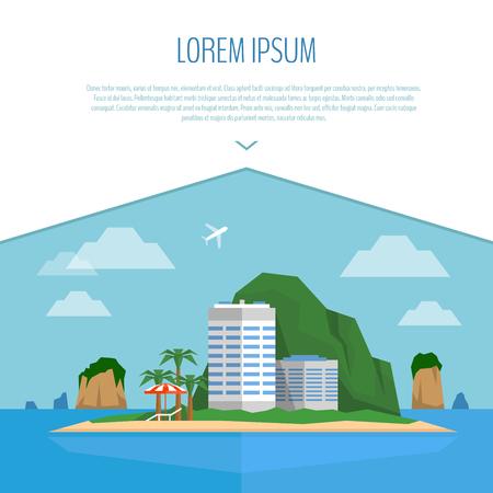 Tropical island scene. Beach, hotel, palm, beach umbrella and chair. Flat style, vector illustration.