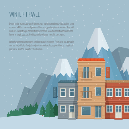 voyage: Winter travel and tourism concept. Street of the old town with cafe and hotel. Ski resort in the mountains. Flat style, vector illustration. Illustration