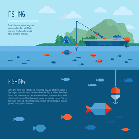 Fishing banner. Fishing concept. Fishing on the boat, flat style.