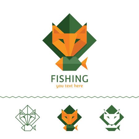 Fishing logotype. Fox holding a fish. Flat style, vector illustration.