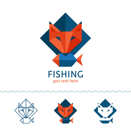 Fishing logotype. Fox holding a fish. Flat style, vector illustration.