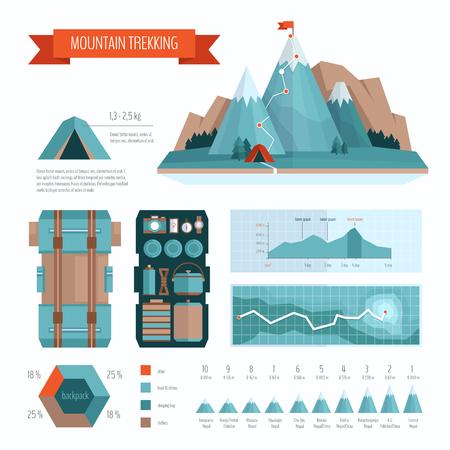 hiking trail: Mountain trekking and hiking infographics