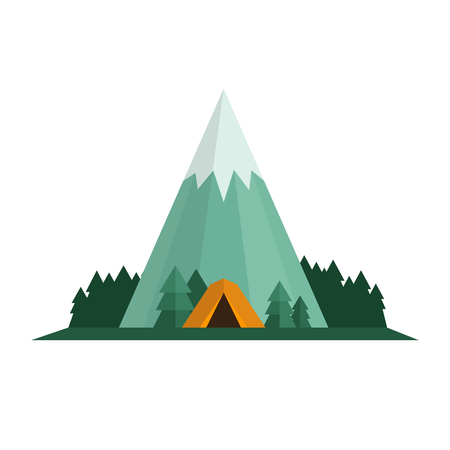 Camping, trekking and hiking concept. Tent, forest and mountain landscape. Flat style, vector illustration. Illustration