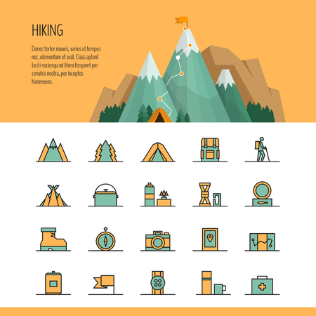 Hiking, trekking and camping header and line icon set. Hiking trail concept, infographics.