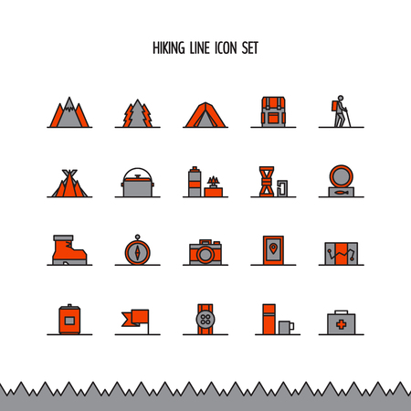 sleeping bags: Hiking, trekking and camping line icon set.